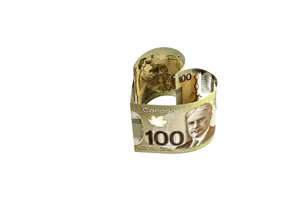 Legal Tender Photograph - 100 Canadian Dollar Banknote. by Fernando Barozza