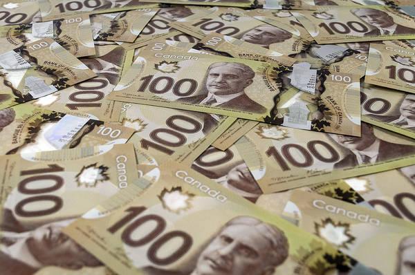 Legal Tender Photograph - 100 Canadian Dollar Banknotes. by Fernando Barozza