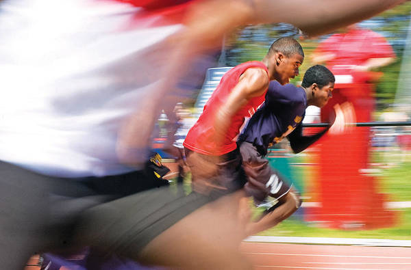 Photograph - 100m Race - Motion by Steve Somerville