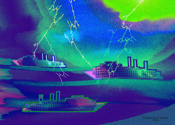 Lightening Painting - 1016 -   Thunderstorm In The Harbour by Irmgard Schoendorf Welch