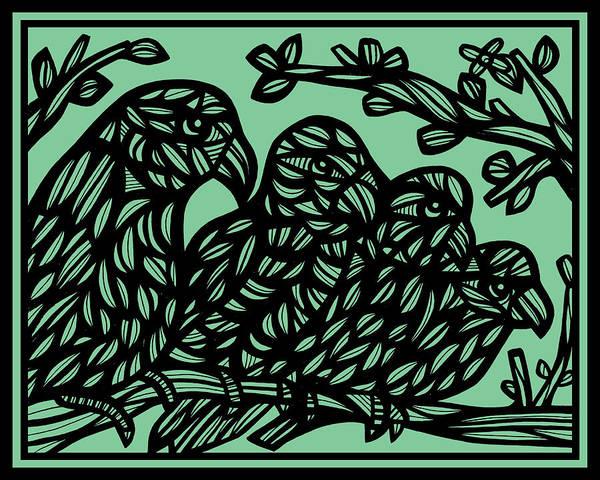 Green Parrot Drawing - Barrie Parrot Green Black by Eddie Alfaro