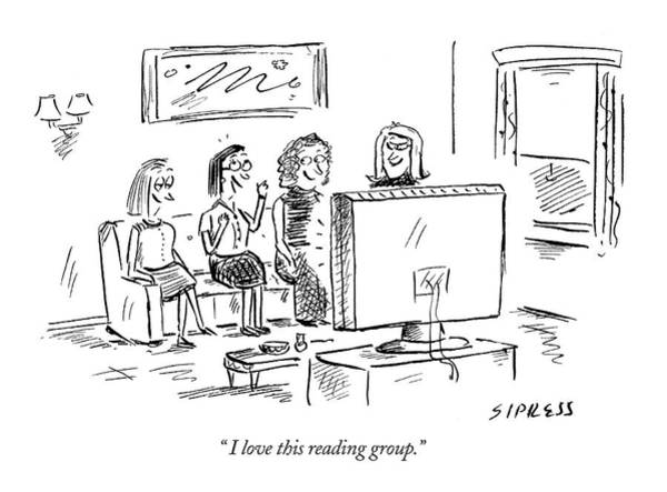 T.v Drawing -  I Love This Reading Group by David Sipress