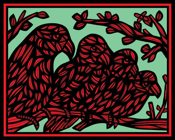 Green Parrot Drawing - Rother Parrot Red Green by Eddie Alfaro