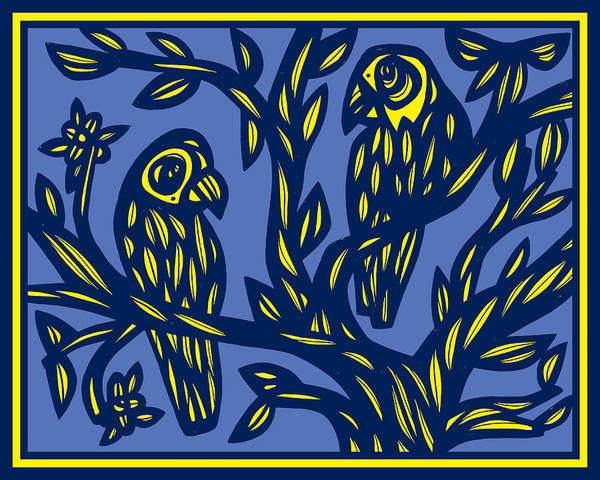 Blue Parrot Drawing - Ziegenfuss Parrot Yellow Blue by Eddie Alfaro