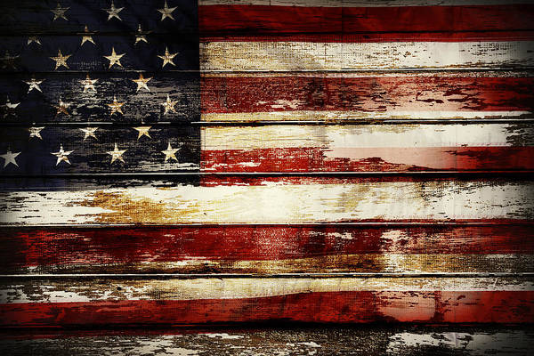 Wood Planks Photograph - American Flag 33 by Les Cunliffe