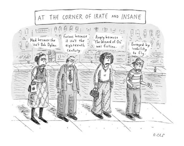 Urban Drawing - At The Corner Of Irate And Insane by Roz Chast