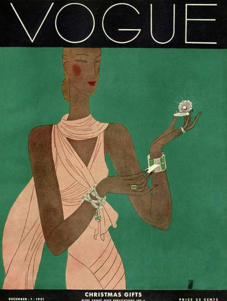 Evening Photograph - A Vintage Vogue Magazine Cover Of A Woman by Eduardo Garcia Benito