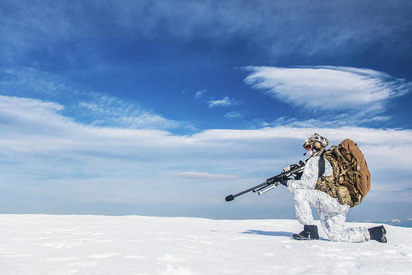 Wall Art - Photograph - Army Soldier With Sniper Rifle by Oleg Zabielin