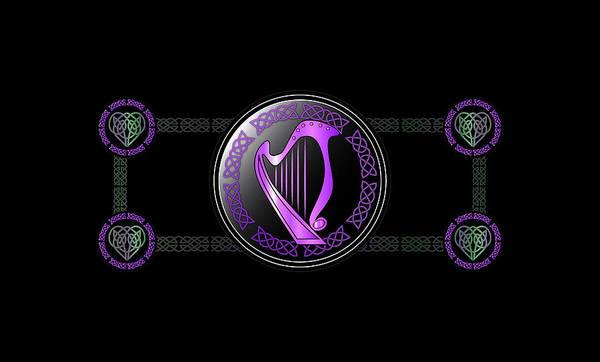 Wall Art - Digital Art - Celtic Harp by Ireland Calling