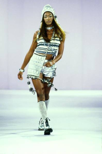 Knit Hat Photograph - Naomi Campbell On A Runway For Anna Sui by Guy Marineau