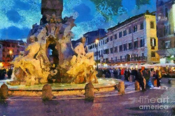 Night Walk Painting - Piazza Navona In Rome by George Atsametakis
