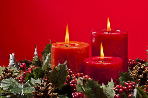Photograph - Red Advent Wreath With Candles by U Schade