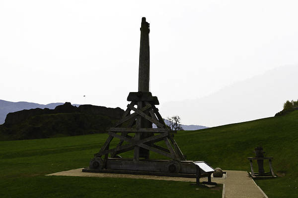 Castles Of Scotland Digital Art - Replica Of Wooden Trebuchet And The Ruins Of The Urquhart Castle by Ashish Agarwal