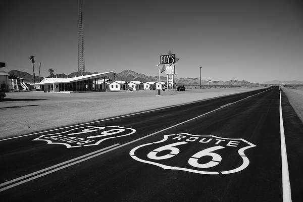 Photograph - Route 66 Shield 2012 Bw #2 by Frank Romeo
