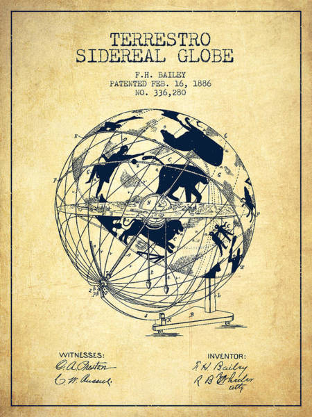 Country Living Digital Art - Terrestro Sidereal Globe Patent Drawing From 1886 by Aged Pixel