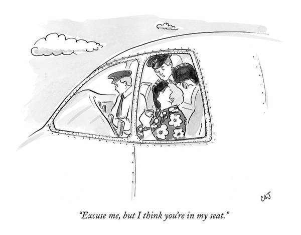 Plane Drawing - Excuse Me, But I Think You're In My Seat by Carolita Johnson