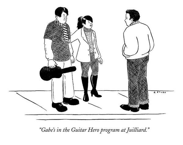 Rock Music Drawing - Gabe's In The Guitar Hero Program At Juilliard by Emily Flake