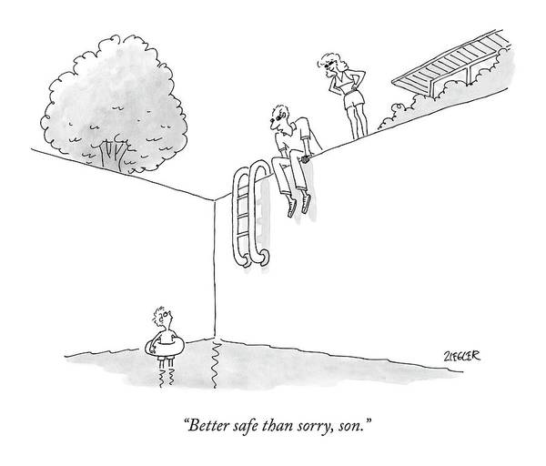 Pool Drawing - Better Safe Than Sorry by Jack Ziegler