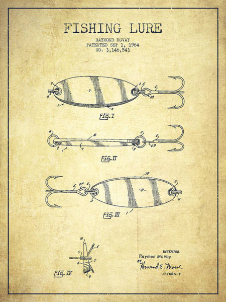 Intellectual Property Wall Art - Drawing - Vintage Fishing Lure Patent Drawing From 1964 by Aged Pixel