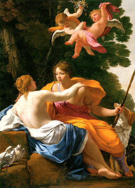 Painting - Venus And Adonis by Simon Vouet