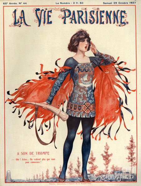 Bugling Drawing - 1920s France La Vie Parisienne Magazine by The Advertising Archives