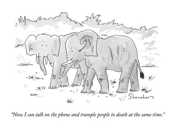 Elephants Drawing - Now I Can Talk On The Phone And Trample People by Danny Shanahan