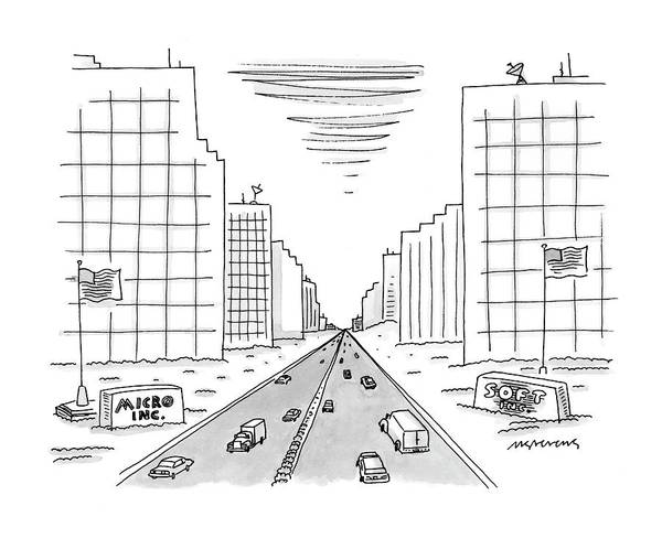 Highway Drawing - New Yorker May 15th, 2000 by Mick Stevens