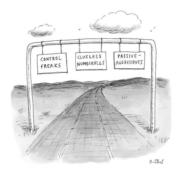 Highway Drawing - New Yorker September 7th, 2009 by Roz Chast