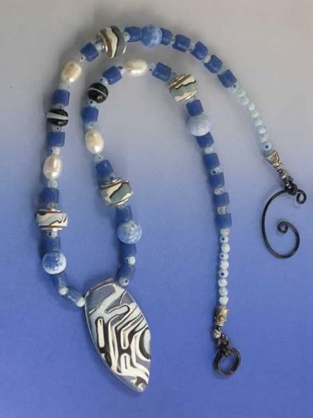 Freshwater Pearls Wall Art - Jewelry - 1147 Blue Maze by Dianne Brooks