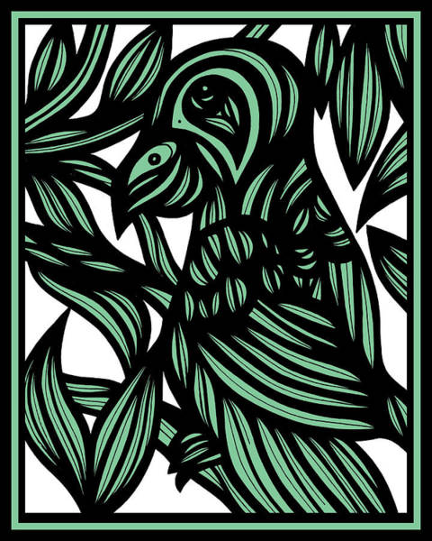 Green Parrot Drawing - Lacquer Parrot Green Black by Eddie Alfaro