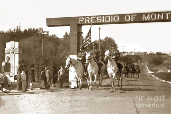 Photograph - 11th Cavalry Coming Down Artillery Street Gate Presidio Of Monterey 1931 by California Views Archives Mr Pat Hathaway Archives