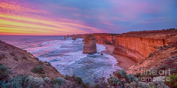 Photograph - 12 Apostles At Sunset Pano by Ray Warren