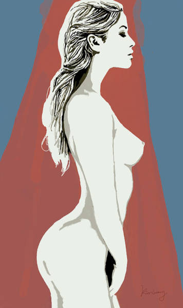Nude Mixed Media - Nude Pop Stylised Art Poster by Kim Wang