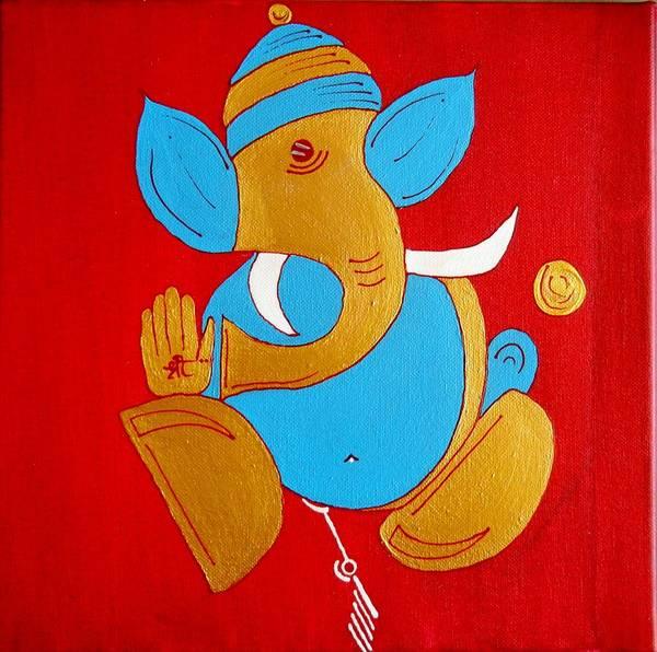 Ganesh Chaturthi Painting - 12 Shubham - Auspicious Ganesha by Kruti Shah