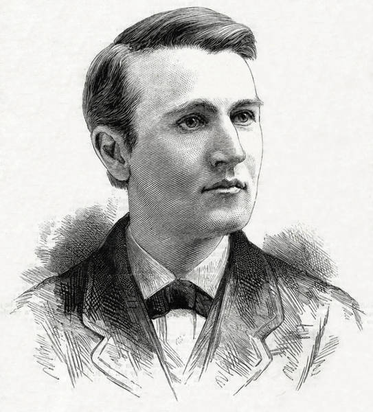 Wall Art - Drawing - Thomas Alva Edison  American Inventor by Mary Evans Picture Library