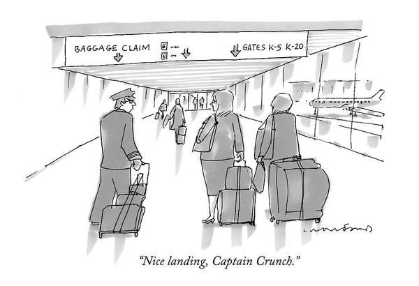 Captain Drawing - Nice Landing by Michael Crawford