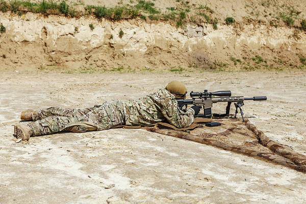 Wall Art - Photograph - Young Male Sniper In Camouflage by Oleg Zabielin