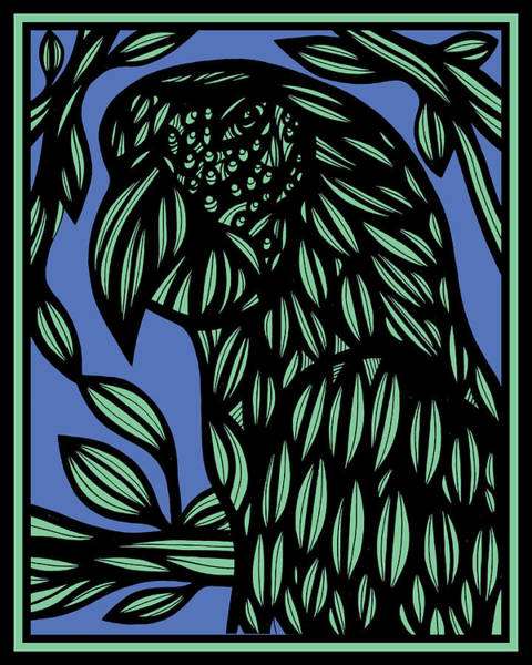 Green Parrot Drawing - Empyreal Parrot Blue Green by Eddie Alfaro