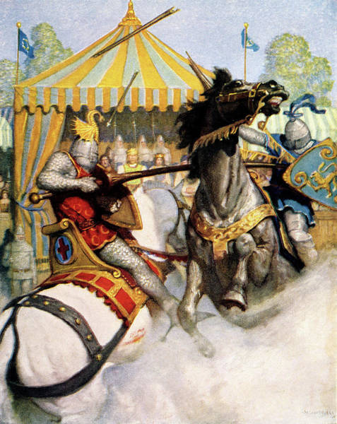 Lance Painting - 1200s Two Jousting Medieval Knights by Vintage Images
