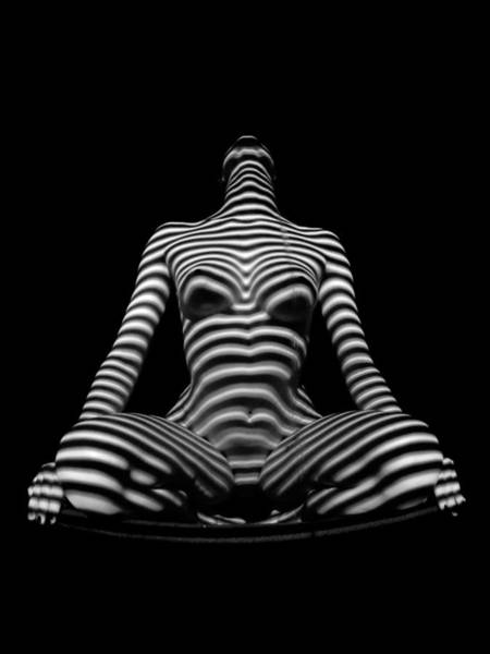 1212 Zebra Woman Nude Stripe Series   Art Print