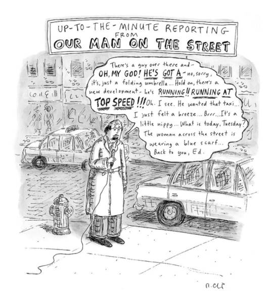 Reporter Drawing - New Yorker February 9th, 2009 by Roz Chast