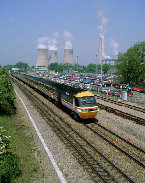 High Speed Photograph - 125 Train Passing Car Park & Didcot Power Station by Martin Bond/science Photo Library