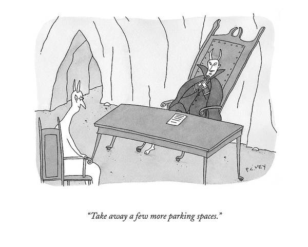 Satan Drawing - Take Away A Few More Parking Spaces by Peter C. Vey