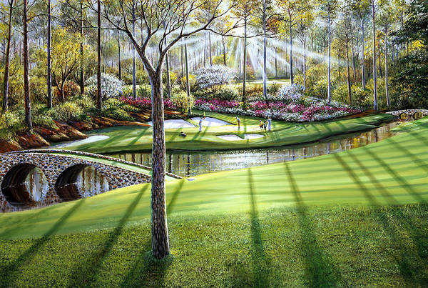 Pine Trees Painting - 12th At Augusta National by Raymond Sipos