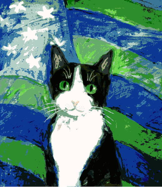 Painting - Cat With Stars And Stripes by Kazumi Whitemoon