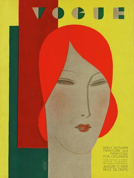 Yellow Background Photograph - A Vintage Vogue Magazine Cover Of A Woman by Eduardo Garcia Benito
