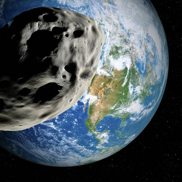 Near Earth Object Photograph - Asteroid Approaching Earth by Detlev Van Ravenswaay/science Photo Library