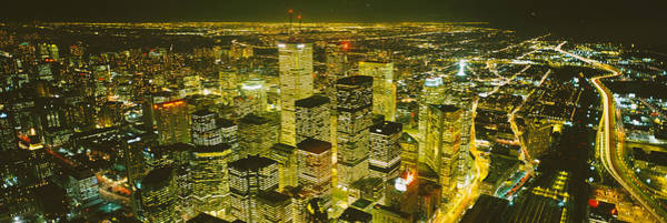 Cn Tower Photograph - High Angle View Of A City Lit by Panoramic Images