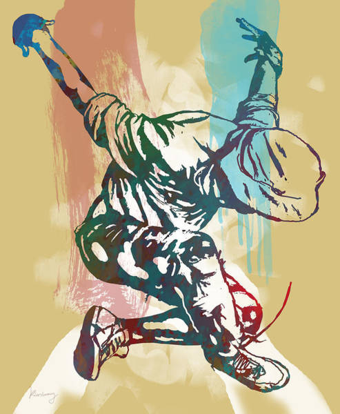 Stylized Drawing - Hip Hop Street Dancing  Pop Stylised Art Poster by Kim Wang
