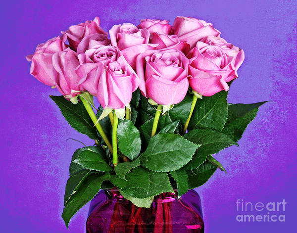 Photograph - 13 Pink Roses In Pink Vase by Larry Oskin